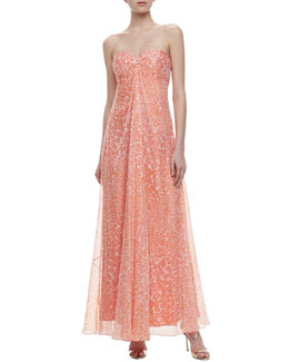 Laundry by Shelli Segal Cascading Print Detachable-Straps Gown
