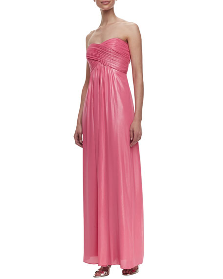 Strapless Ruched Crisscross Gown, Shell Pink