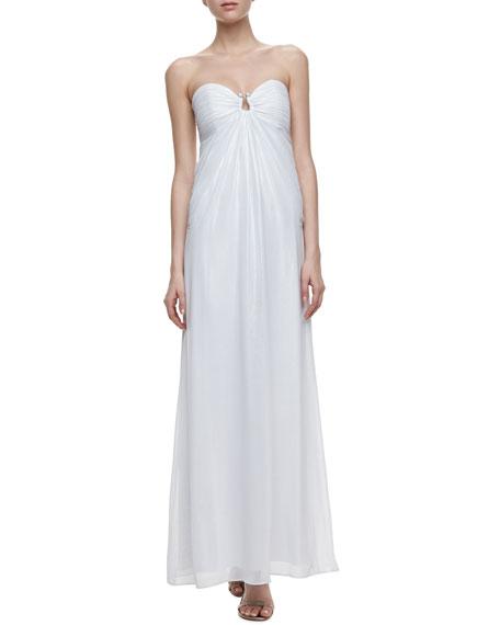 Horseshoe-Neck Chiffon Gown, Optic White