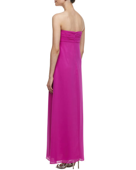Horseshoe-Neck Chiffon Gown, Shocking Pink