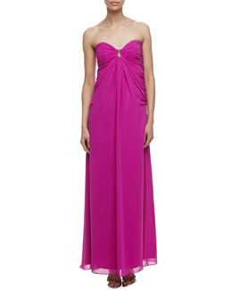 Laundry by Shelli Segal Horseshoe-Neck Chiffon Gown, Shocking Pink
