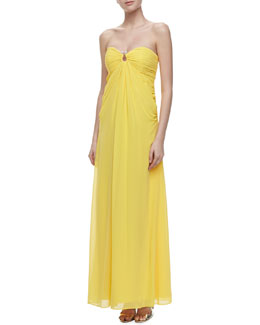 Laundry by Shelli Segal Horseshoe-Neck Chiffon Gown, Canary Yellow