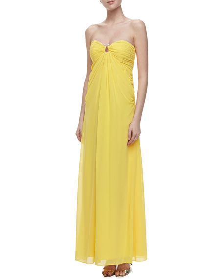 Horseshoe-Neck Chiffon Gown, Canary Yellow