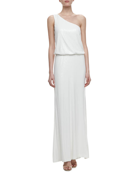 One-Shoulder Blouson Sequin Gown, Pearl