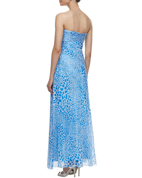 Strapless Animal Print Cascade Gown, Blue/White