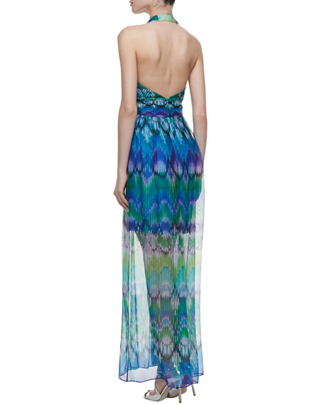 Pleated, Printed Halter Gown.