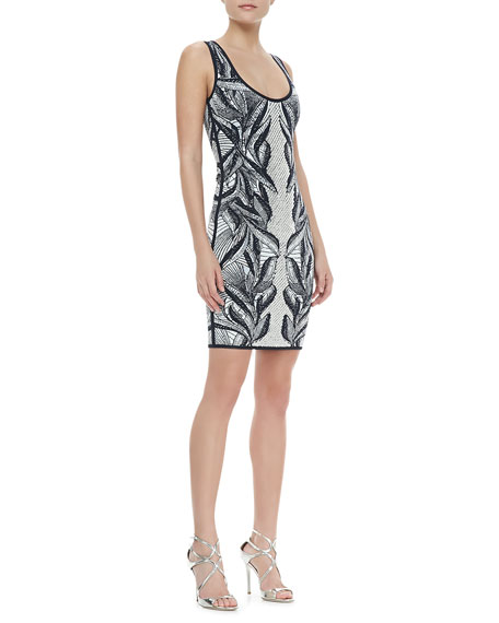 Printed Rhinestone-Center Knit Dress