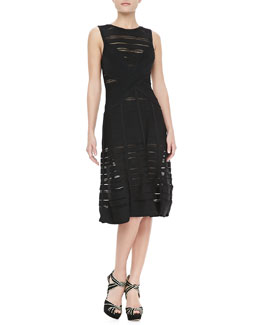 Herve Leger Sheer-Stripe Bandage A-Line Dress