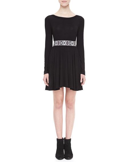 Long-Sleeve Beaded-Belt Dress