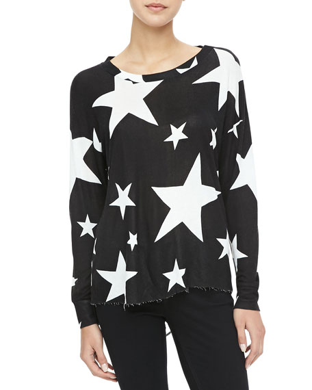 Shredded-Back Stars Sweater