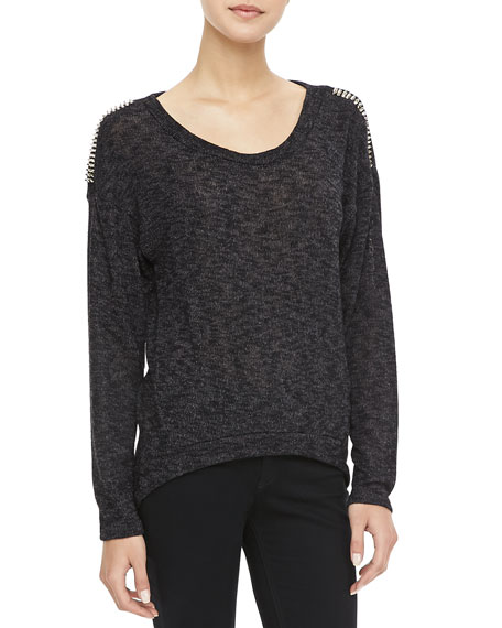Stud-Shoulder Marled Sweater