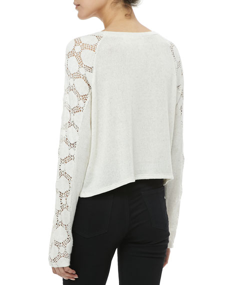 Crochet-Sleeve Knit Top
