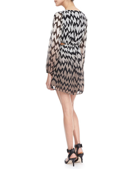 Printed Peekaboo Blouson Dress