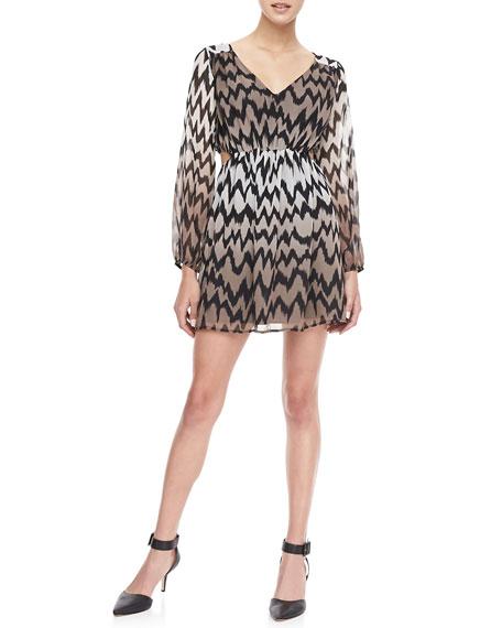 Printed Peekaboo Blouson Dress