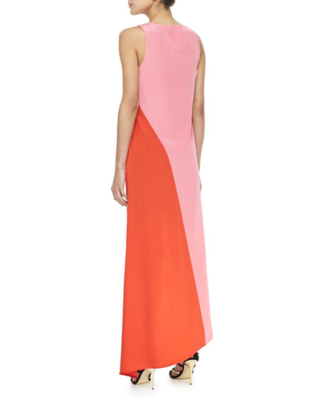 Colorblock Asymmetric-Hem Maxi Dress