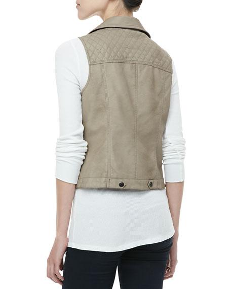 Faux-Leather Zip Vest