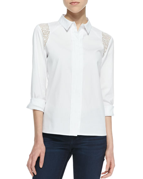 Selin Long-Sleeve Lace Inset Blouse, White