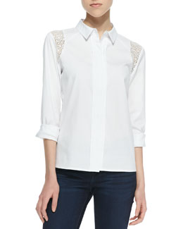 Cooper & Ella Selin Long-Sleeve Lace Inset Blouse, White
