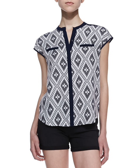 Jane Printed Paneled Blouse