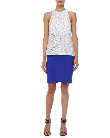Pink Matter Pencil Skirt, Imperial Blue