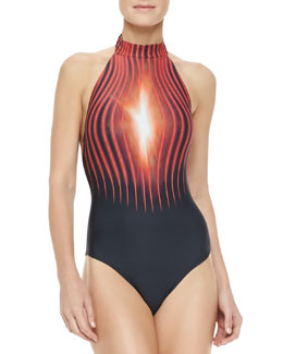 Lenny Niemeyer Runway Red Light Beam Maillot Swimsuit