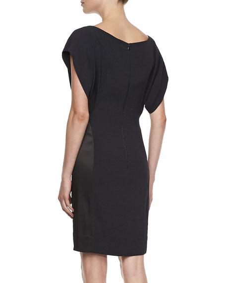 Pleated Shoulder Batwing Dress, Black/Blue