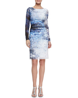 Kay Unger New York Long-Sleeve Printed Mesh Dress