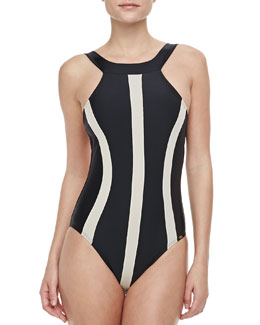 PilyQ Svelte One-piece Swimsuit, Black & Taupe