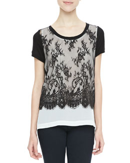 Robbi & Nikki Scalloped-Lace Jersey Top