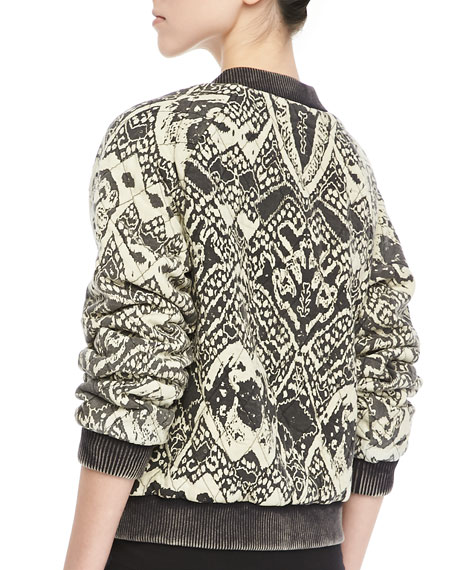 Quilted Printed Bomber Jacket