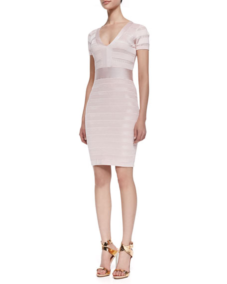 Summer Spotlight Bandage-Seam Dress, Capri Blush