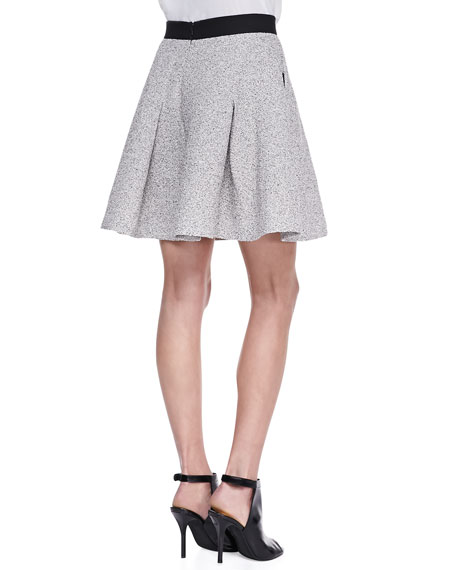 Salt & Pepper A-Line Tweed Skirt, Black/Classic Cream