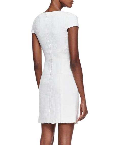 Cap-Sleeve Basketweave Dress