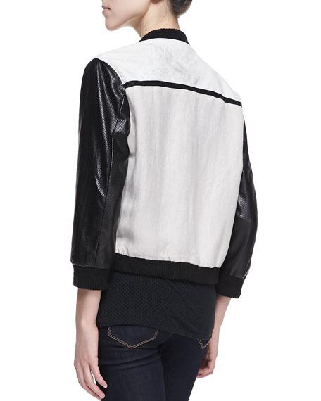 Tumble Weed Faux Leather-Sleeve Baseball Jacket