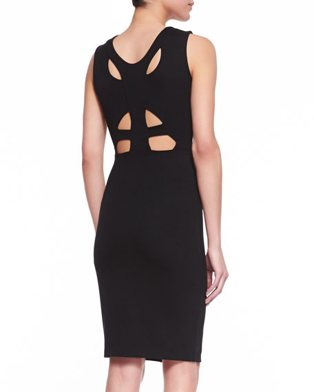 Stephanie Cutout Jersey Dress, Black