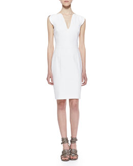 French Connection Lolo Cutaway Stretch Classic Dress, White