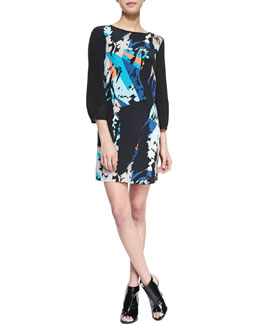 4.collective Floral-Print 3/4-Sleeve Dress
