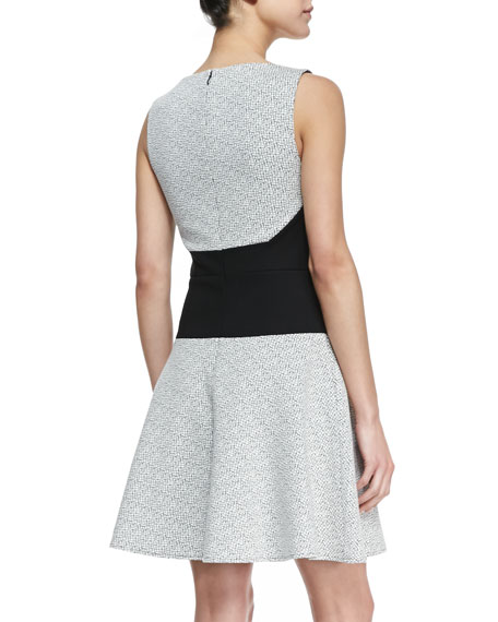Digital Crosshatch Printed Dress