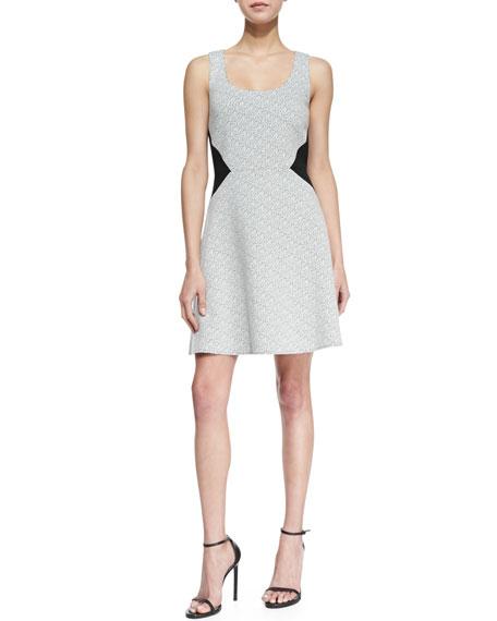 Digital Crosshatch Printed Dress