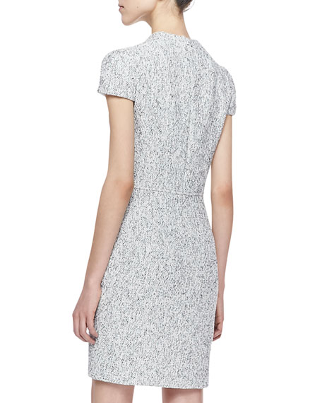 Ava Short-Sleeve Tweed Sheath Dress