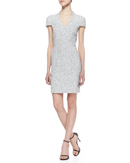 4.collective Ava Short-Sleeve Tweed Sheath Dress