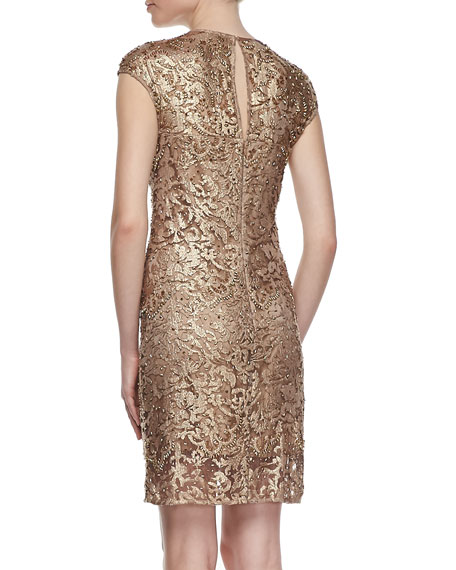 Lace Mesh Embroidered Cocktail Dress