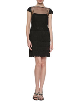 Kay Unger New York Sheer Overlay Cocktail Dress