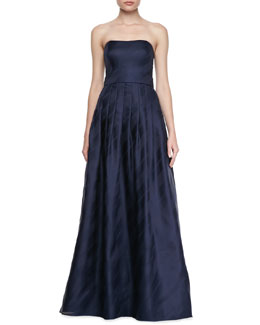 Kay Unger New York Strapless Pleated-Skirt Gown, Navy