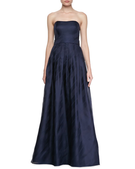 Strapless Pleated-Skirt Gown, Navy