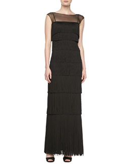 Kay Unger New York Sleeveless Illusion Fringe Gown