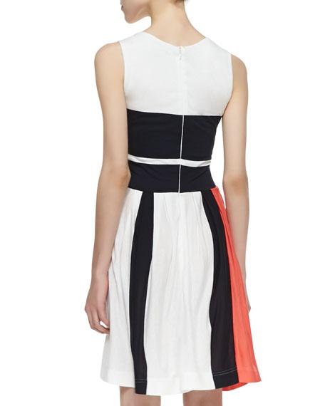 Mia Sleeveless Mixed Stripe Dress, Party Pink/Utility Blue/White
