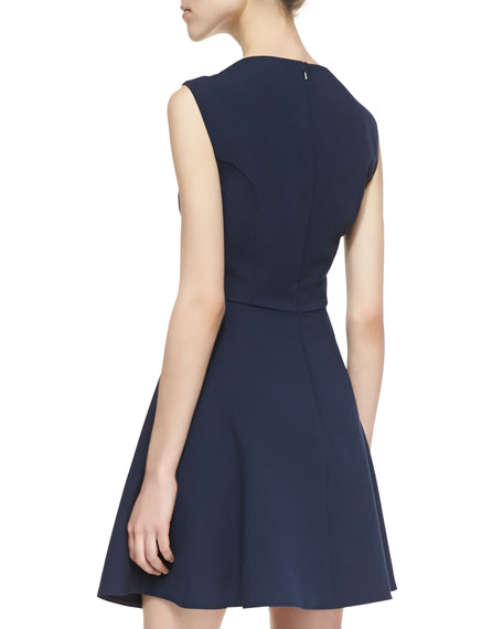 Feather Ruth Fit-And-Flare Dress, Navy