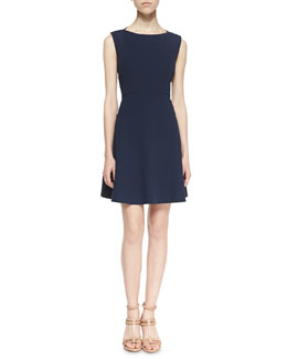 French Connection Feather Ruth Fit-And-Flare Dress, Navy