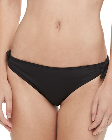 Gidget Ruched-Back Swim Bottom, Black